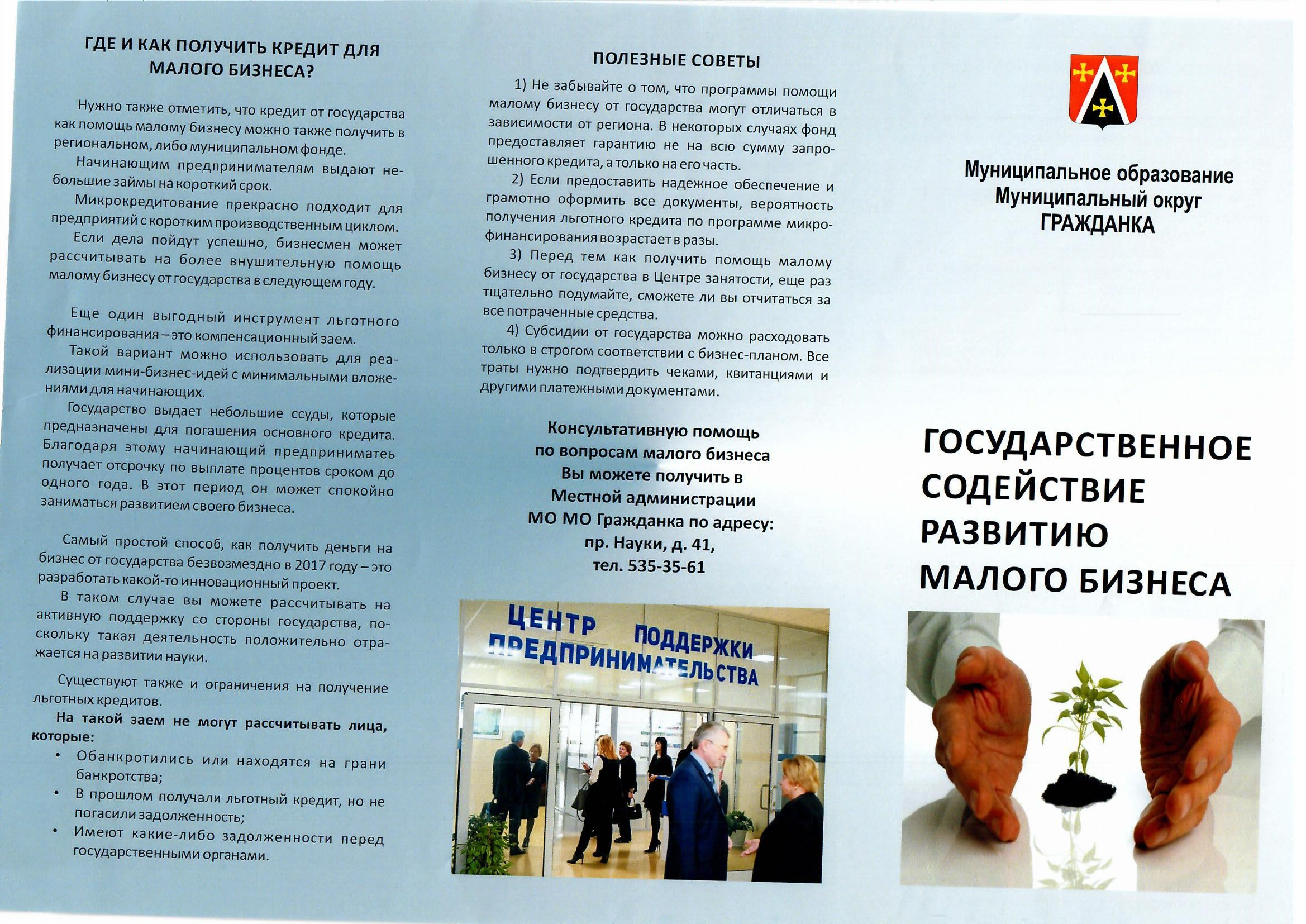 Брошюра «Государственное содействие развитию малого бизнеса»