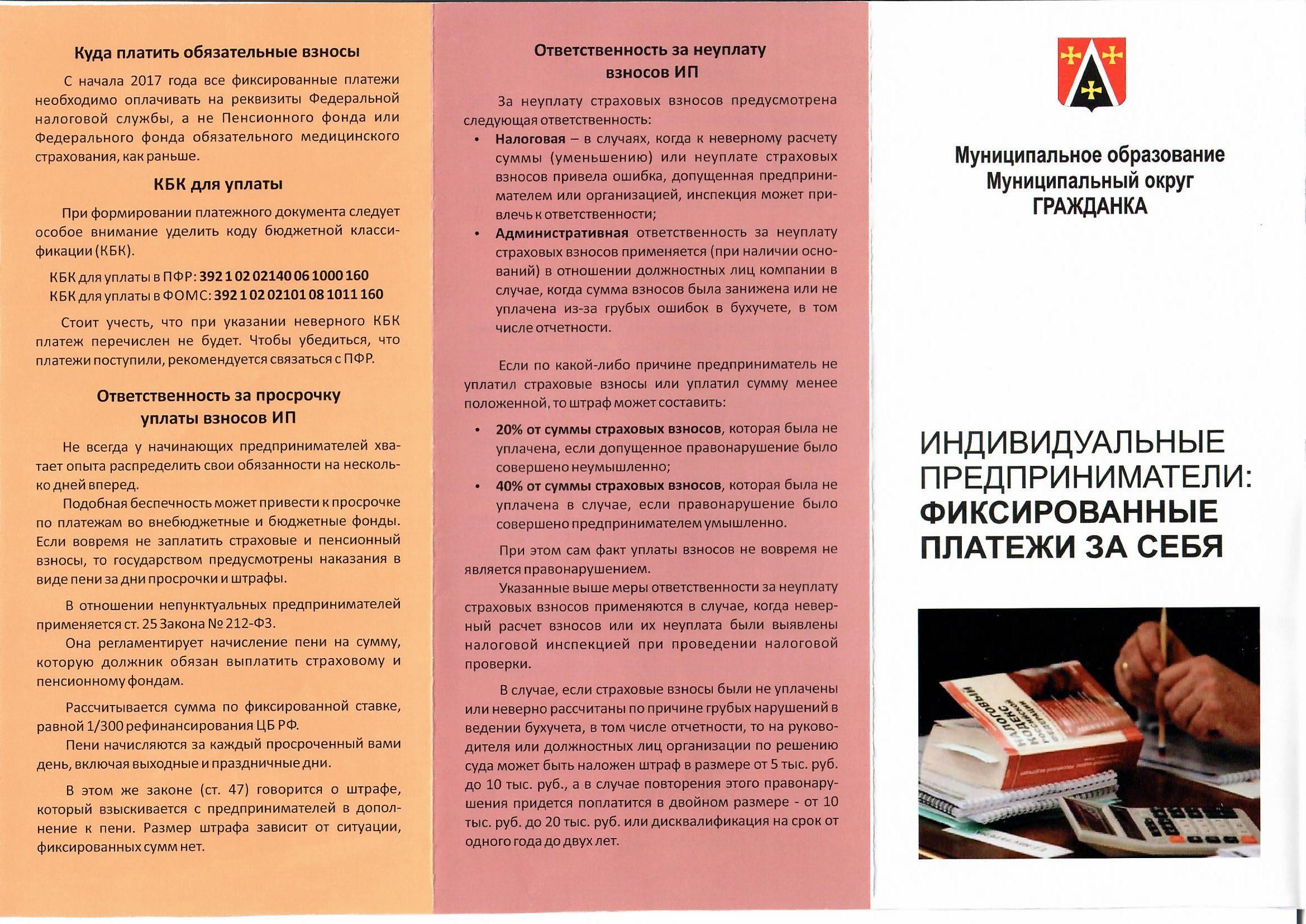 Брошюра «Индивидуальные предприниматели: фиксированные платежи за себя»